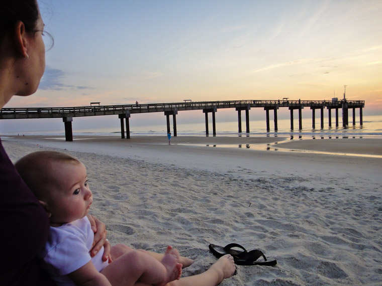 baby beach sunrise pier