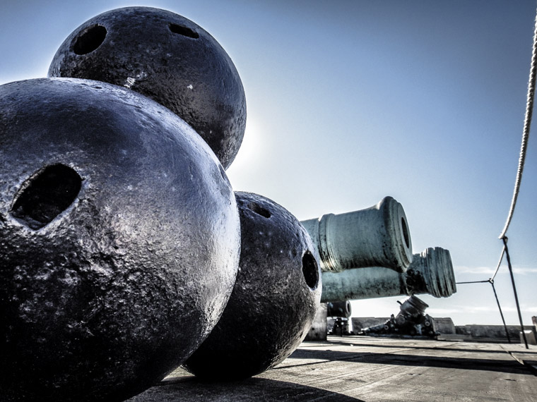 Cannonballs and cannon at castillo de san marcos fort