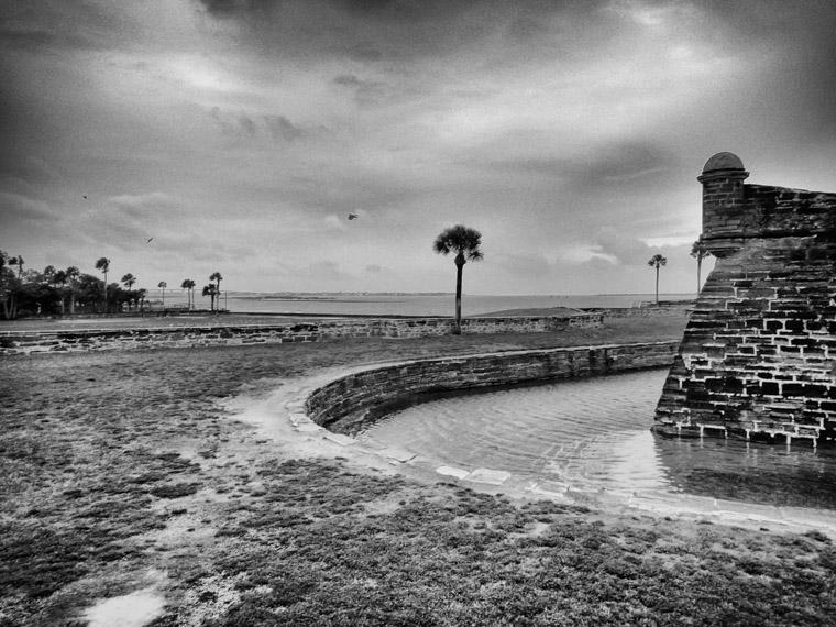 Castillo de San Marcos fort moat flooding storn