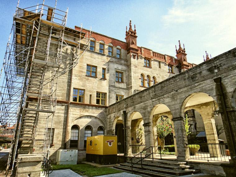Lightner museum scaffolding restoration