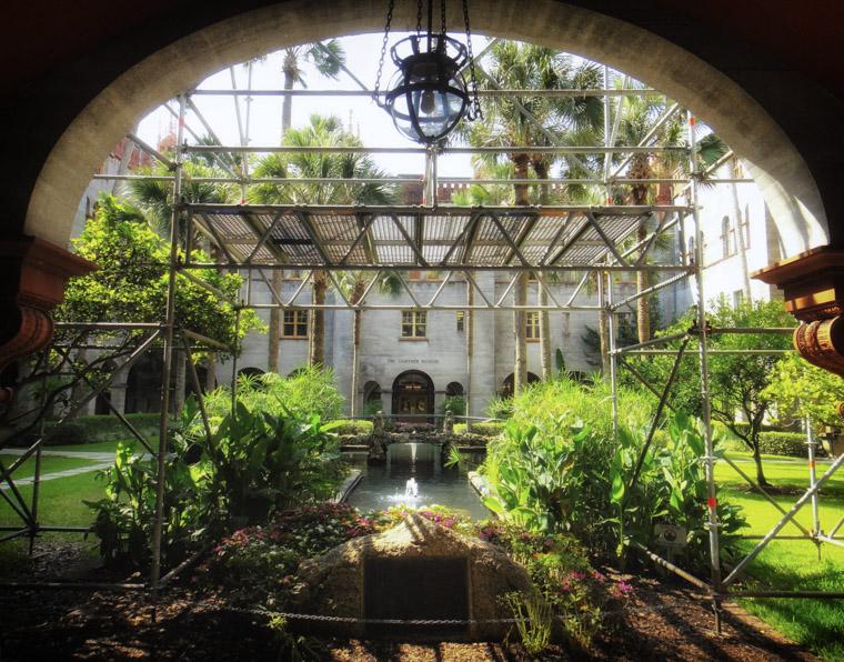 Lightner museum courtyard scaffolding restoration