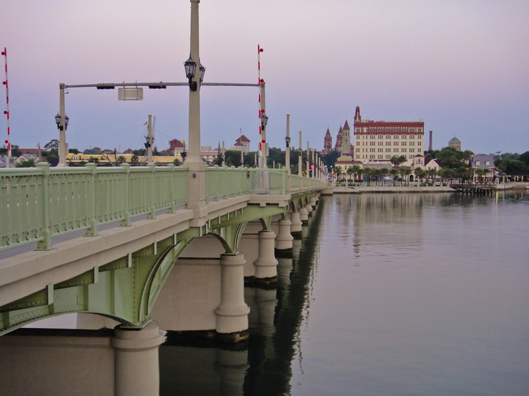 Bridge of Lions and downtown st augustine at sunrise