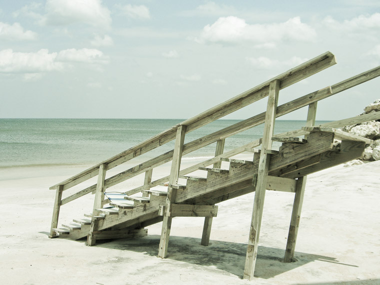 Stairs on vilano beach from erosion