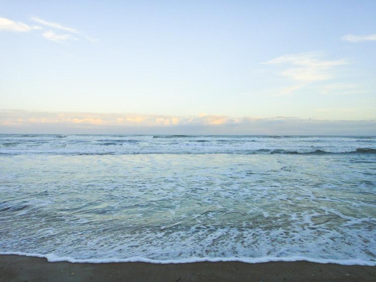 Beach sunset waves