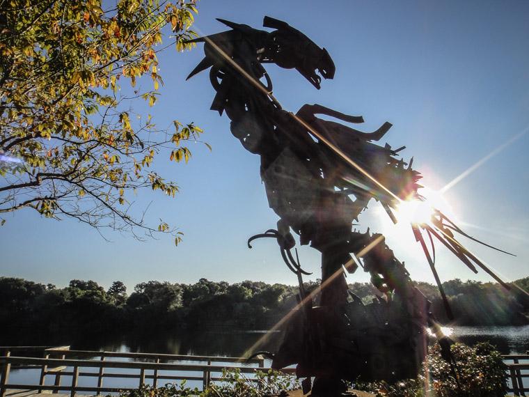 Sculpture garden at sunrise