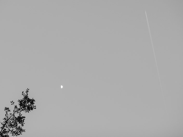 Plane moon and sky minimal art