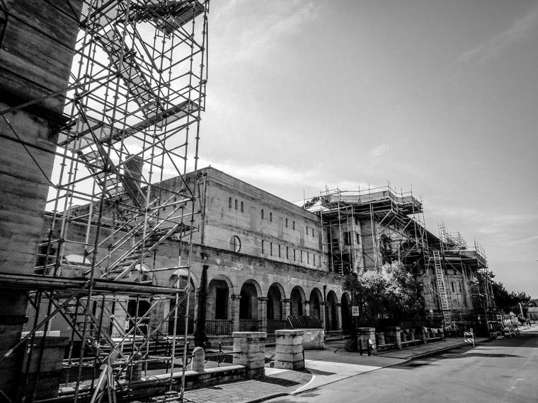 Lightner Museum scaffolding construction