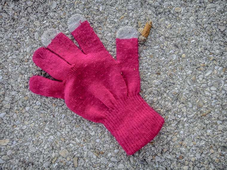 Glove and cig butt