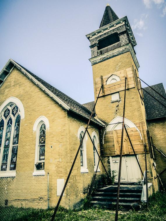 Architectural cracks in brick work of church