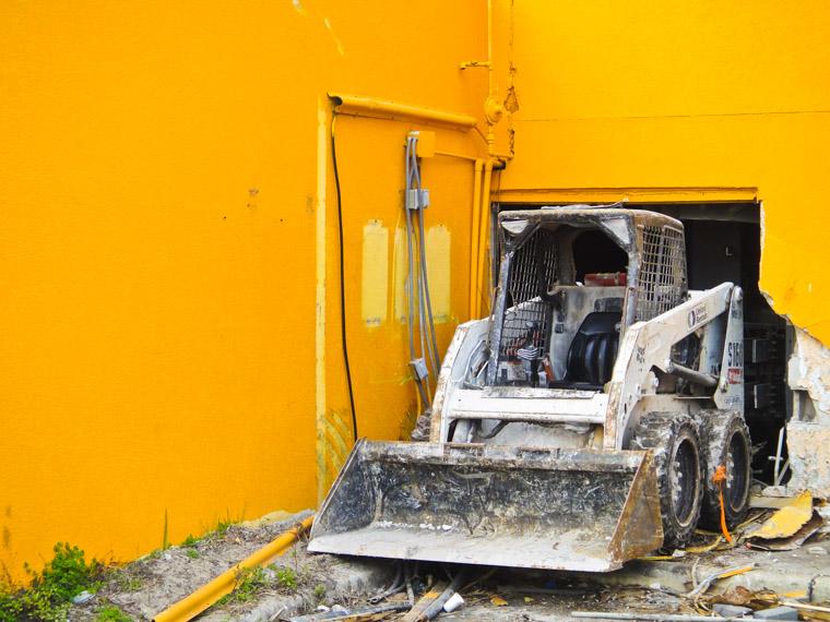 Bulldozer at St Augustine beach resort hotel demolition