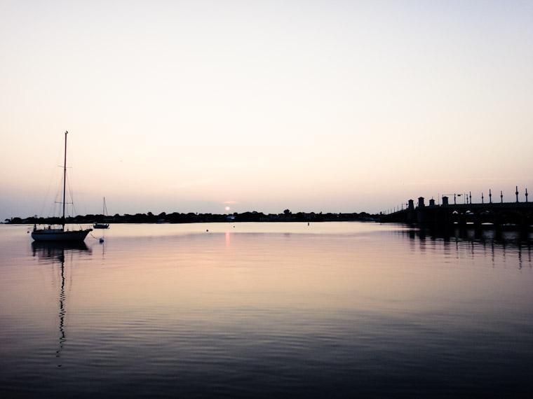 Bridge of lions intracoastal sunset sailboat
