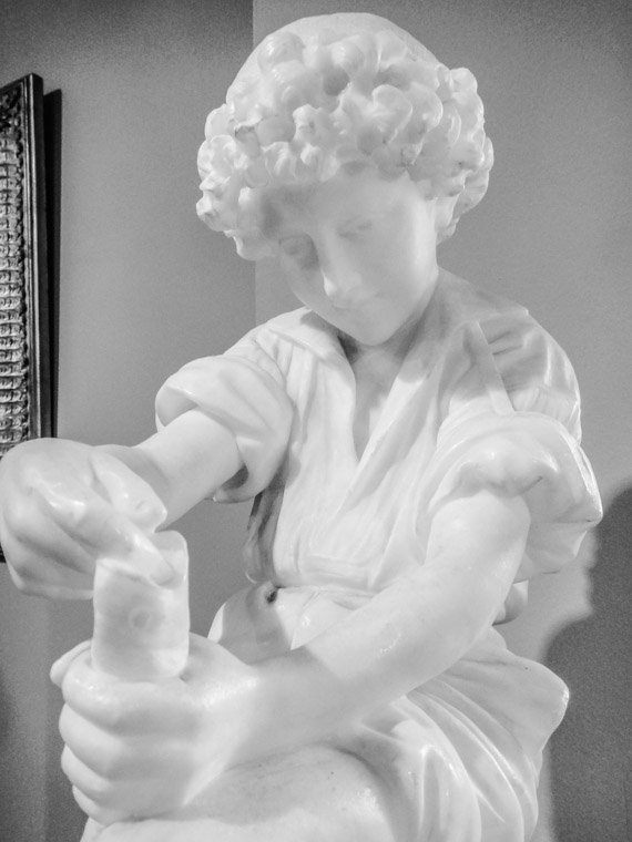 Lightner Museum marble sculpture boy fishing