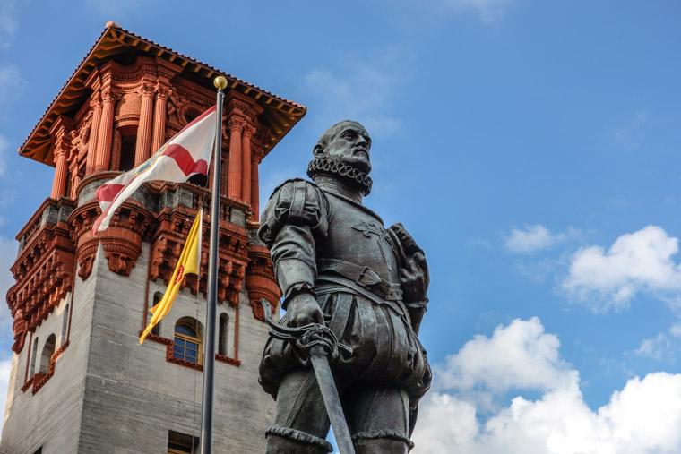 Pedro Menendez Statue by Lightner Museum