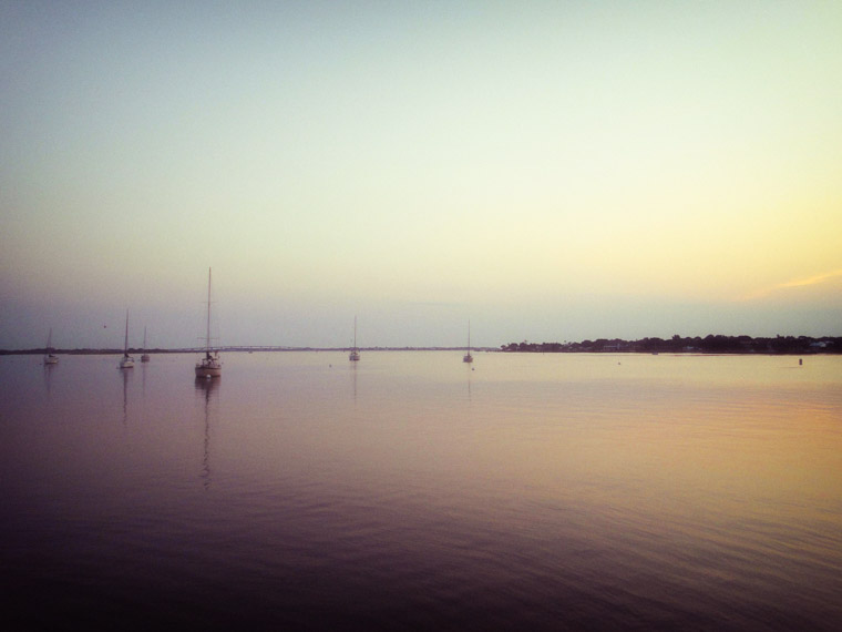 Intracoastal bayfront sunrise sailboats