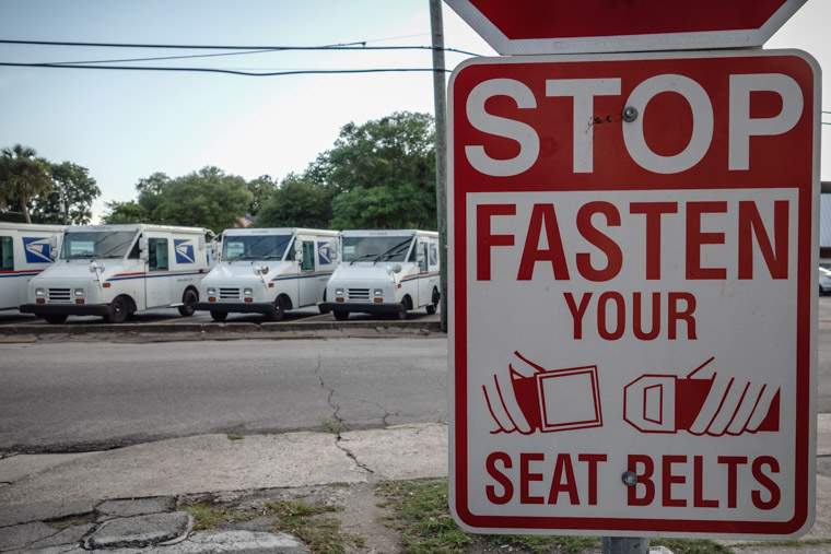 USPS mail truck fasten seat belt sign