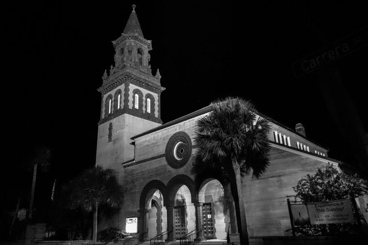 Grace United Methodist Church at night