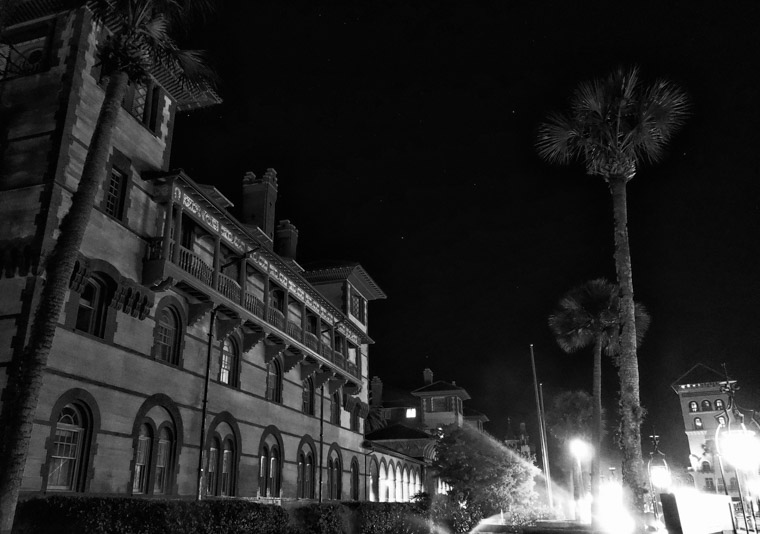 Flagler College Hotel Ponce de Leon at night stars