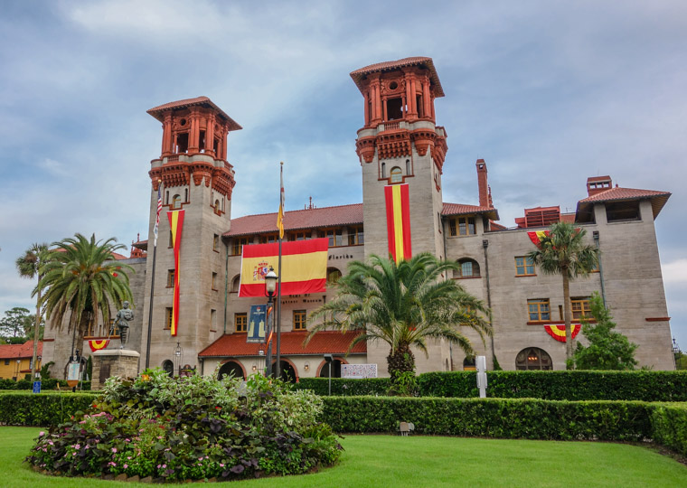Lightner Museum with Spanish Flags for 450th birthday