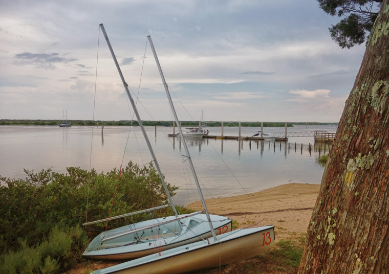 Sailing dinghys at lighthouse intracoastal boat ramp