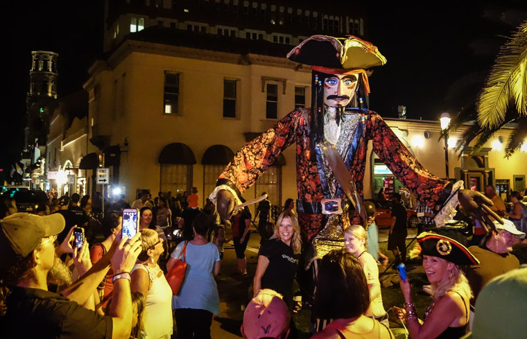 Oversized pirate costume at downtown 450th celebration concert