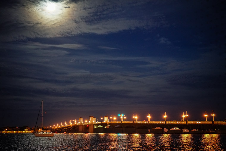 Bridge of lions full moon reflection sailboat intracoastal