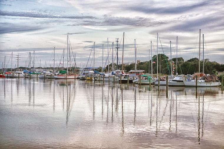 Sailboats docked on San Sebastian River