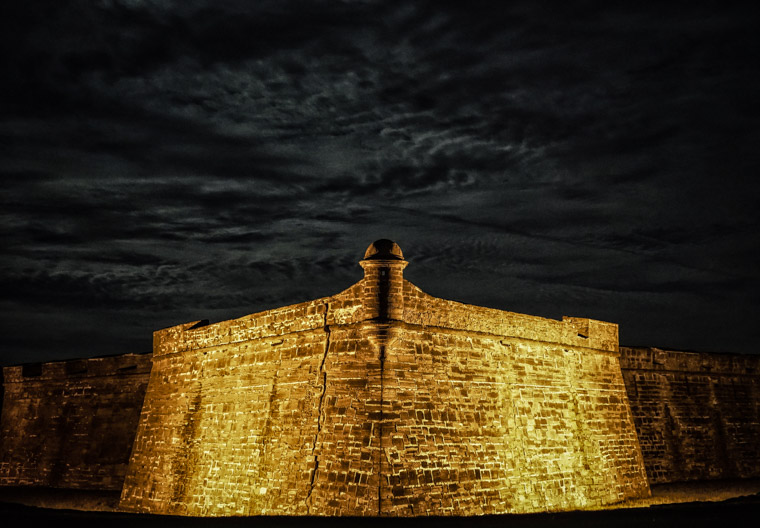 Fort Castillo de San Marcos at night clouds