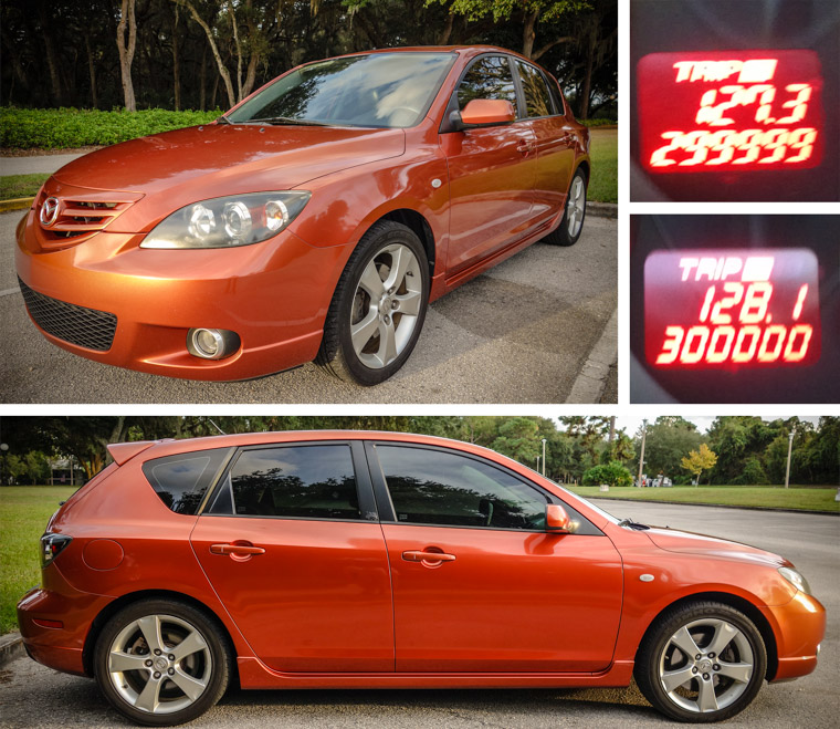 Mazda 3 hatchback with 300,000 miles