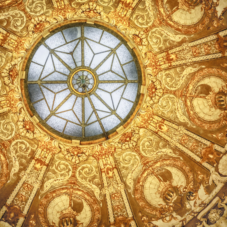 Flagler College rotunda gold ceiling detailing