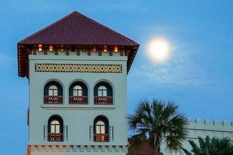Casa Monica Hotel tower and full moon
