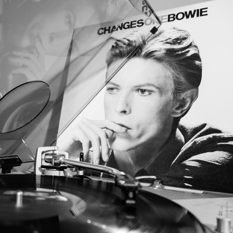 David Bowe Changes One vinyl record playing on turntable