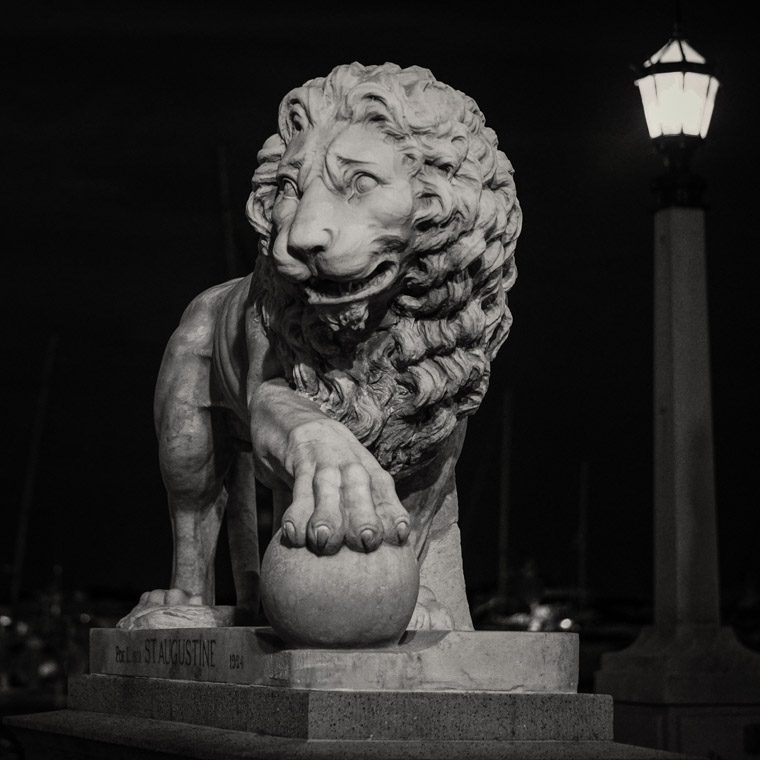 Bridge of Lions Statue sculpture at Night