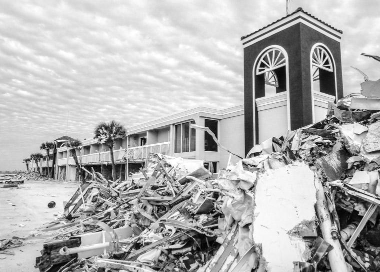 Beach hotel demolition