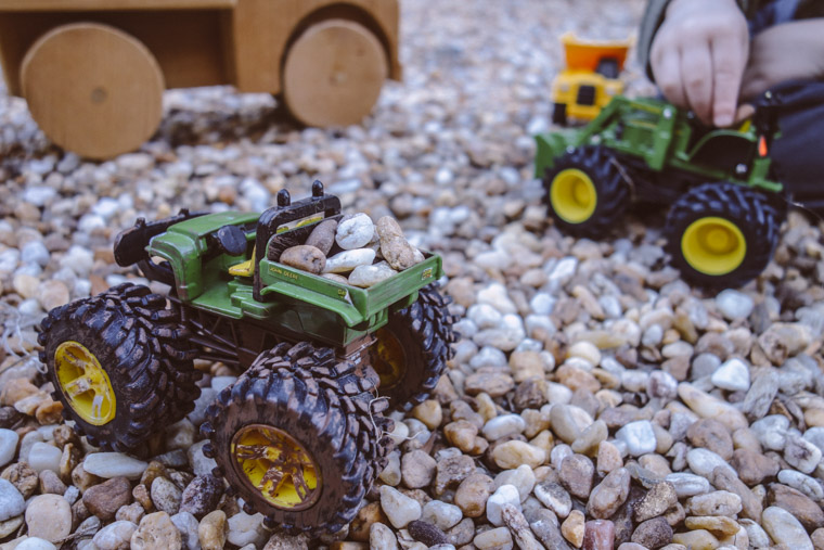 Toy cars and dump trucks