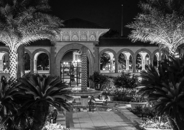 Flagler College Courtyard at night hotel ponce de leon
