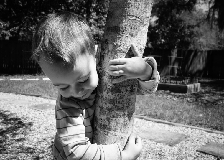 Earth day son hugging tree