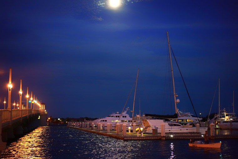 Intracoastal bridge of lions sailboats moon