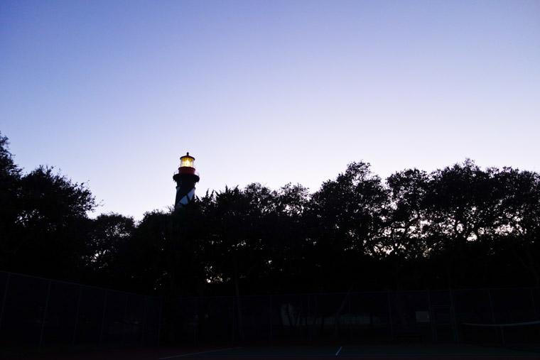 Lighthouse tennis court at dusk