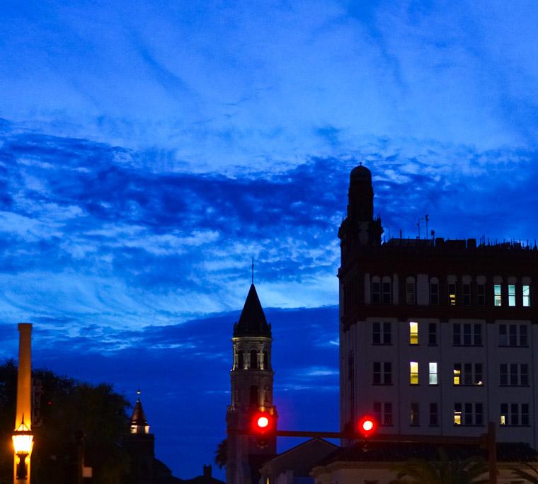 Downtown night skyline blue sky