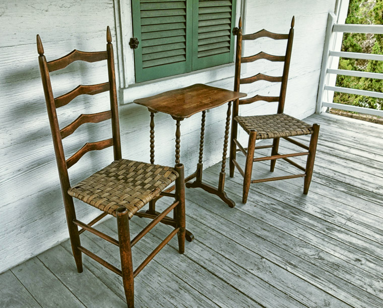 Ximenez-Fatio House chairs and table on porch