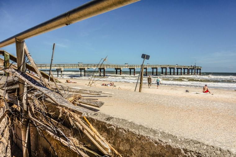 Hurricane matthew debris at pier