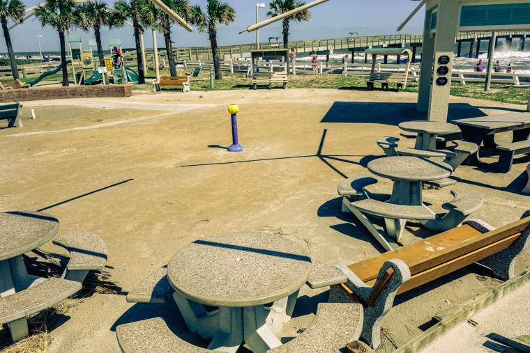 hurricane matthew sand filled splash park at pier