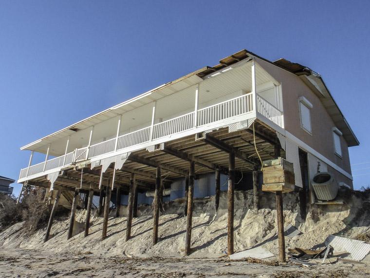 Vilano beach house erosion from hurricane matthew