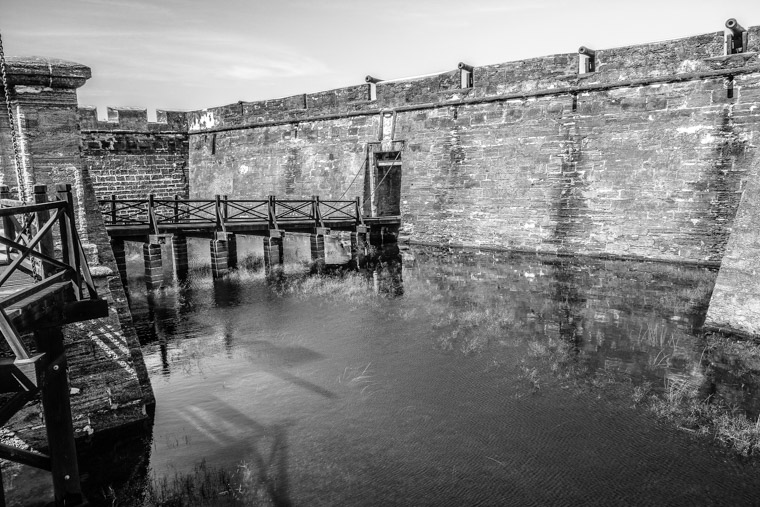 Castillo de san marcos fort moat with water drawbridge