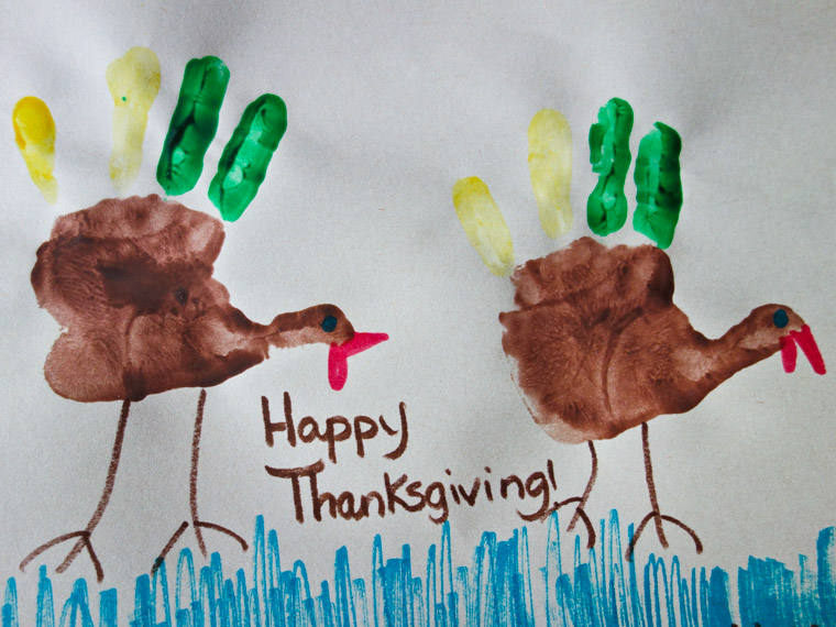 Hand turkey thanksgiving card