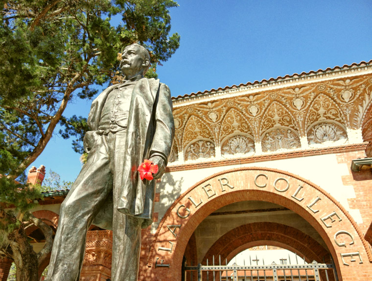 Henry Flagler Statue with Hibiscus at Flagler College